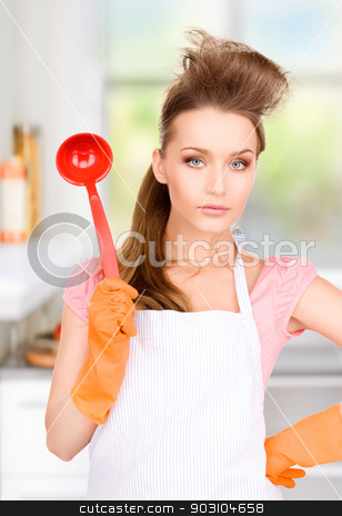 housewife with red ladle stock photo, picture of beautiful housewife with red ladle by Syda Productions