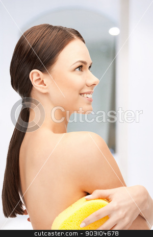 beautiful woman with sponge stock photo, bright closeup portrait picture of beautiful woman with sponge by Syda Productions