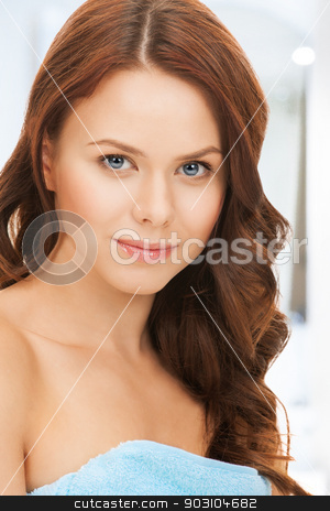 beautiful woman in towel stock photo, bright picture of beautiful woman in towel by Syda Productions