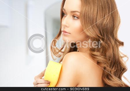 beautiful woman with sponge stock photo, bright picture of beautiful woman with sponge by Syda Productions