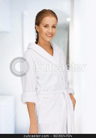 beautiful woman in white bathrobe stock photo, picture of beautiful woman in white bathrobe by Syda Productions