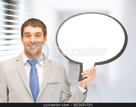 smiling businessman with blank text bubble stock photo, bright picture of smiling businessman with blank text bubble by Syda Productions
