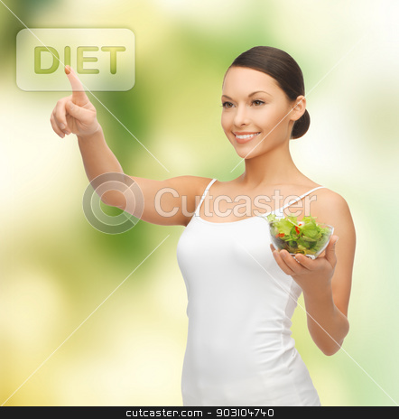 healthy woman holding bowl with salad stock photo, woman with salad pressing virtual button by Syda Productions