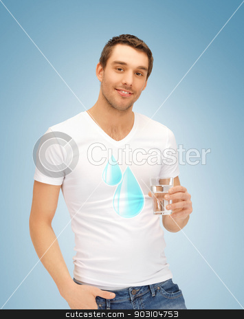 man holding glass of water stock photo, man in shirt with blue water drops by Syda Productions