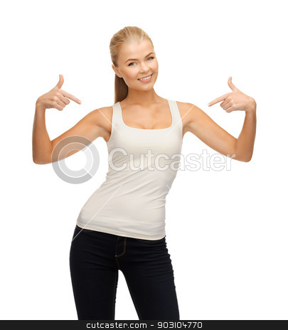 woman in blank white t-shirt pointing at herself stock photo, happy woman in blank white t-shirt pointing at herself by Syda Productions