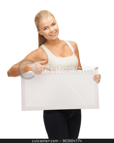 woman with white blank board stock photo, woman pointing her finger at white blank board by Syda Productions