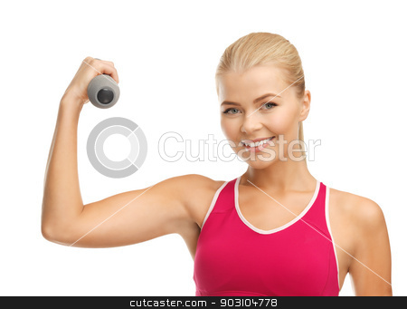 young sporty woman with light dumbbell stock photo, picture of young sporty woman with light dumbbell by Syda Productions