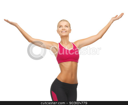 sportswoman with raised up hands stock photo, beautiful happy sportswoman with raised up hands by Syda Productions