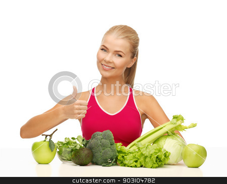 woman shows thumbs up with organic food stock photo, woman showing thumbs up with fruits and vegetables by Syda Productions