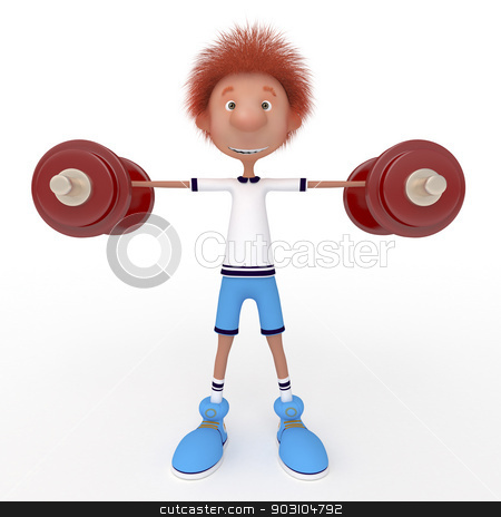 3d boy athlete. stock photo, Raising of weights pledge of health. by karelin721
