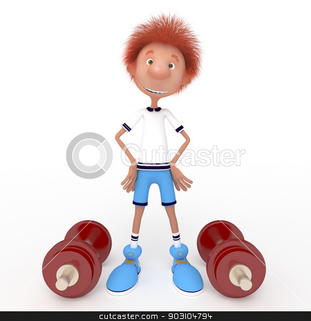 3d boy athlete. stock photo, Raising of weights pledge of health. Sport. by karelin721