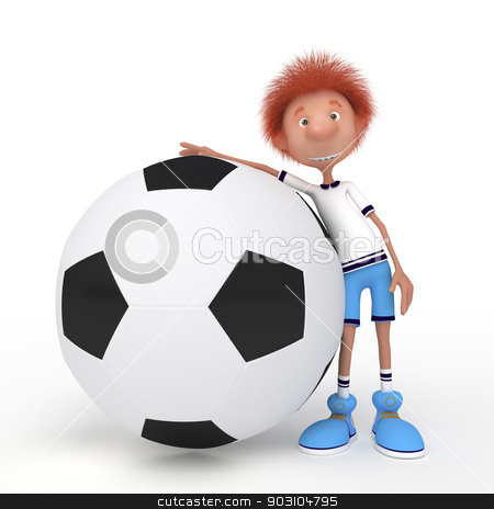3d boy football player. stock photo, Sports soccer competition. Faster, higher, stronger. by karelin721