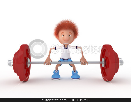The 3D little boy with a bar. stock photo, The young athlete is engaged in weightlifting. by karelin721