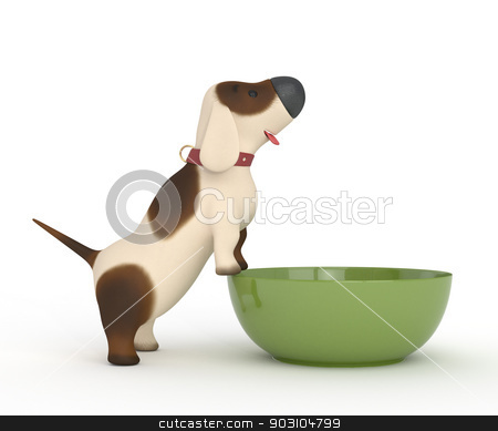 3d dog with a bowl. stock photo, The little and cheerful friend asks to eat. by karelin721