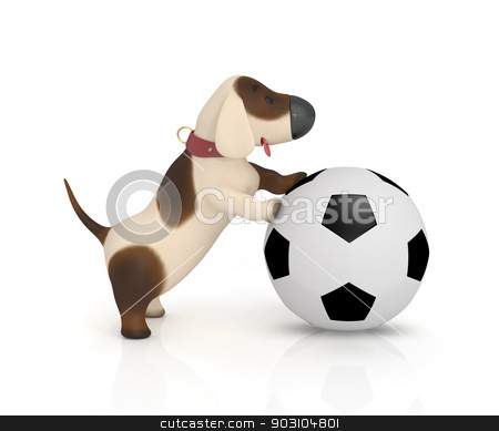 3d dog with a ball. stock photo, The puppy plays cheerful game. by karelin721