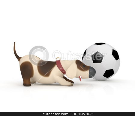 Dog With A Ball. stock photo, The puppy plays cheerful game. by karelin721