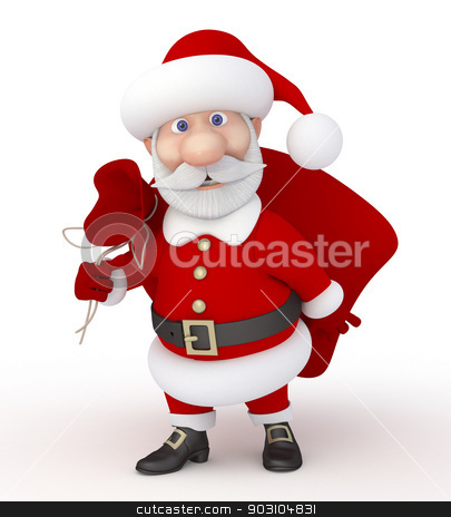 3d Christmas holiday. stock photo, New Year's congratulation from Santa Claus. by karelin721