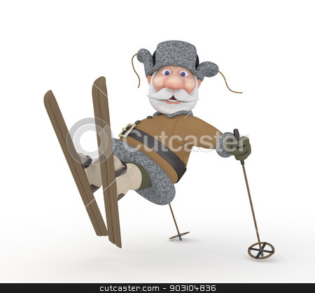 The grandfather on skis. stock photo, Improving walk on a winter forest. by karelin721