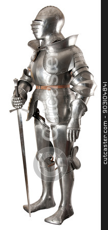 Armour  stock photo, Armour of the medieval knight. Metal protection of the soldier against the weapon of the opponent by Valery Sibrikov