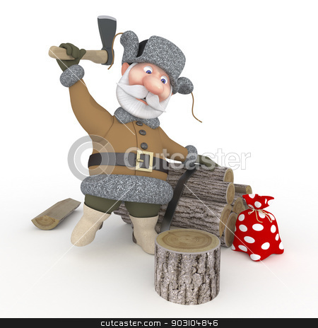 The grandfather with a sledge. stock photo, Preparation of firewood for the winter in the coniferous wood. by karelin721