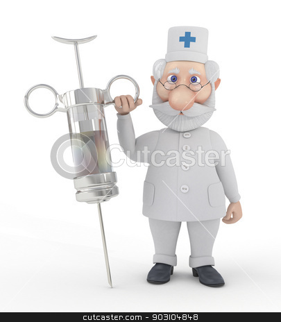 The 3D doctor with a syringe. stock photo, Vaccination is useful from any viruses. by karelin721