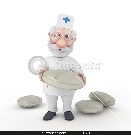 The 3D Doctor with tablets. stock photo, Vaccination is useful from any viruses. by karelin721