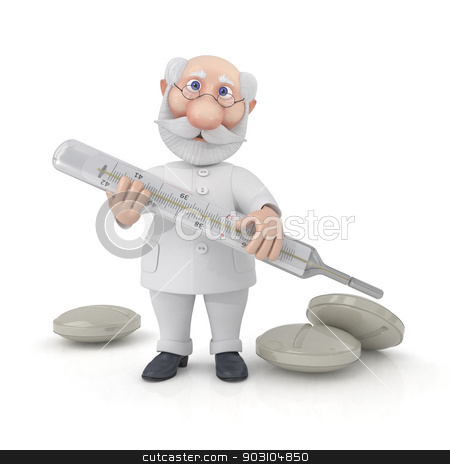 The 3D Doctor with tablets and a thermometer. stock photo, Vaccination is useful from any viruses. by karelin721