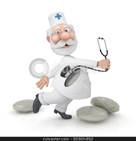 The 3D doctor with a stethoscope. stock photo, Vaccination is useful from any viruses. by karelin721