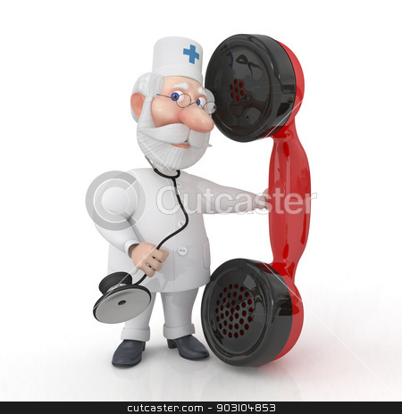 The 3D doctor with phone. stock photo, Call of the physician on the house for the patient. by karelin721