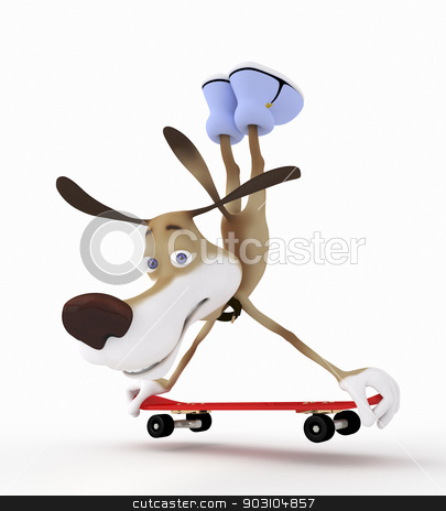 3d dog on a skateboard. stock photo, Sporting achievements in free skating. by karelin721