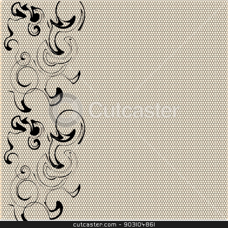 Modern Lace Abstract stock vector clipart, A modern take on a lace pattern in black with a skin tone background. by Kotto
