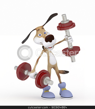 Dog going in for sports. stock photo, Lifting dumbbells you strengthen the health. by karelin721