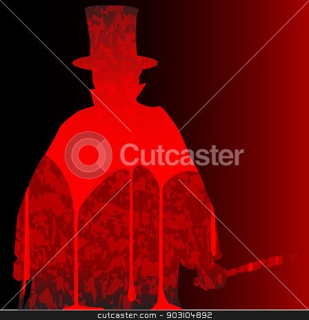 Jack stock vector clipart, Jack the Ripper clipped on a bloody dark red background by Kotto
