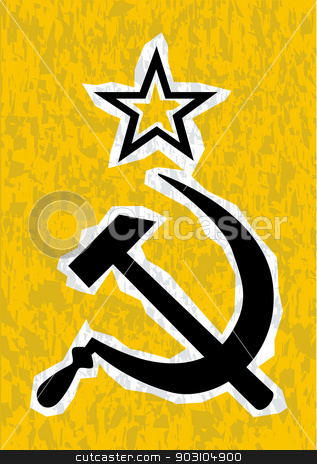 CCCP stock vector clipart, Hammer and Sickle grunge effect set on a yellow background by Kotto