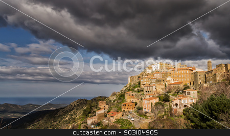 Village of Speloncato in the Balagne region of Corsica stock photo, The mountain village of Speloncato in the Balagne region of northern Corsica by Jon Ingall
