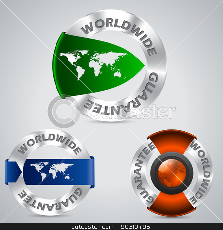 Various worldwide metallic guarantee badges stock vector clipart, Various worldwide metallic guarantee badges with color ribbons  by Mihaly Pal Fazakas