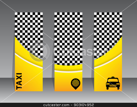 Checkered yellow taxi banners stock vector clipart, Checkered yellow taxi banner set of 3 by Mihaly Pal Fazakas