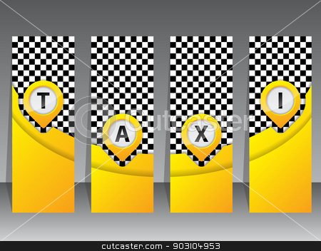 Yellow taxi labels with pointers stock vector clipart, Yellow taxi label set with cool pointers by Mihaly Pal Fazakas