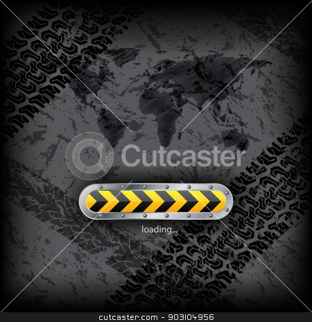 Loading industrial interface with world map stock vector clipart, Loading industrial interface with grunge background and scribbled world map by Mihaly Pal Fazakas