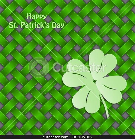St Patrick's shamrock on seamless green texture stock vector clipart, St Patrick's shamrock on seamless green background texture by Mihaly Pal Fazakas