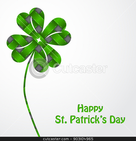 St Patrick's shamrock on green texture and white backdrop stock vector clipart, St Patrick's shamrock on green texture and white background by Mihaly Pal Fazakas
