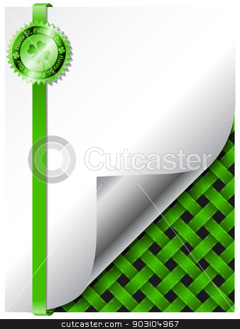 St patricks day background design with green badge stock vector clipart, St patricks day theme background design with green badge by Mihaly Pal Fazakas