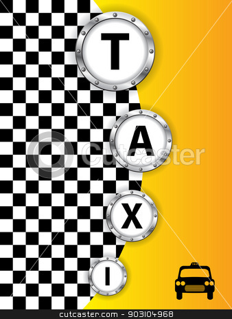 Taxi background design with metallic rings stock vector clipart, Abstract taxi background design with metallic rings by Mihaly Pal Fazakas
