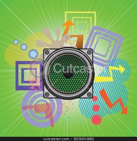 speaker stock vector clipart, colorful illustration with speaker for your design by valeo5