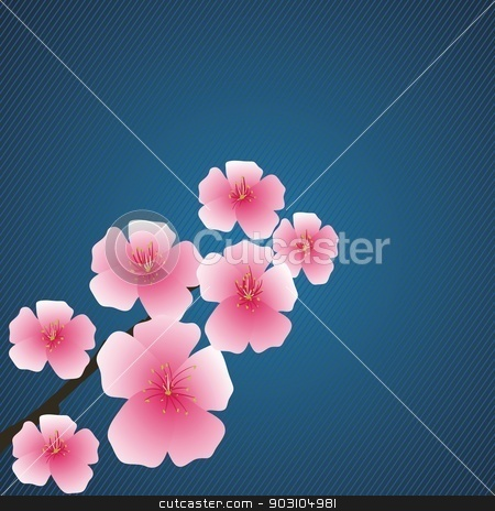 pink flowers stock vector clipart, colorful illustration with pink flowers for your design by valeo5