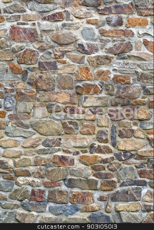 Old stone wall stock photo, Old stone wall with different size of rock by Harry Huber