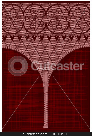 Lace Zipper stock vector clipart, A lace stocking background in a fishnet style with hearts and flowers with a zipper foreground by Kotto