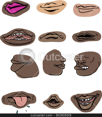 Human Mouths stock vector clipart, Set of human mouths in various expressions on isolated background by Eric Basir