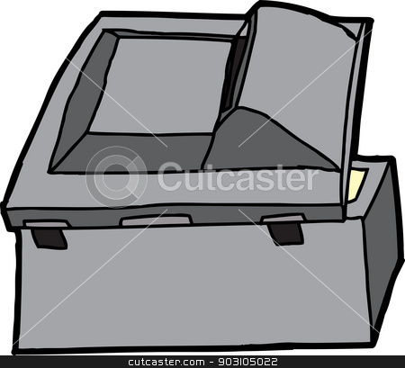 Black Multifunction Scanner stock vector clipart, Rear of open black multifunction copy machine by Eric Basir