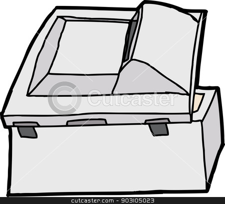 Rear Side of Copier stock vector clipart, Back end of isolated multifunction copy machine by Eric Basir